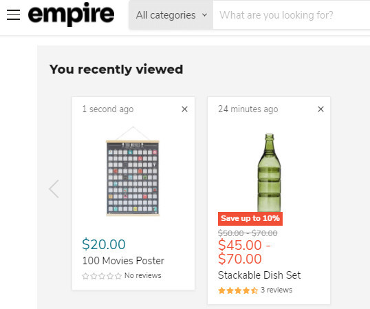 Empire Theme Recently Viewed Feature