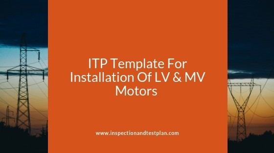 Inspection And Test Plan Template For Electric Motors