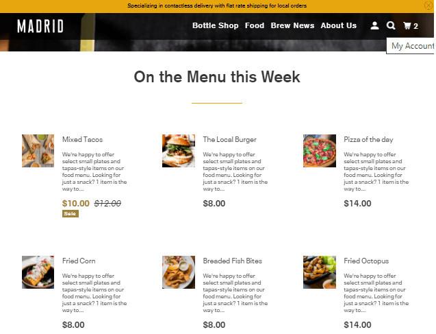 Parallax Shopify Restaurant Theme