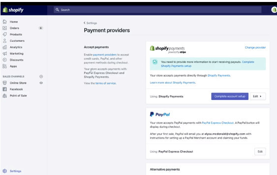Shopify Payments to Sell without Inventory