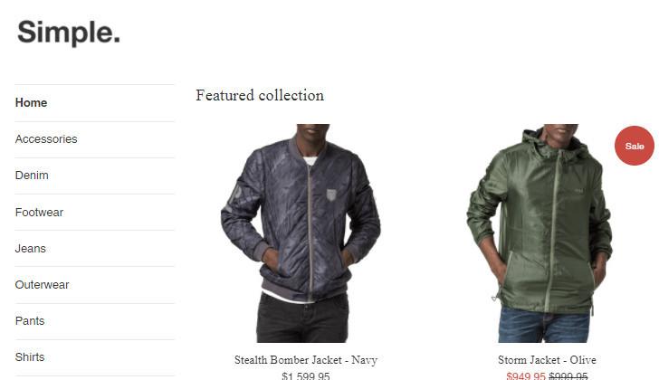 Free Shopify Simple Theme Sidebar Menu