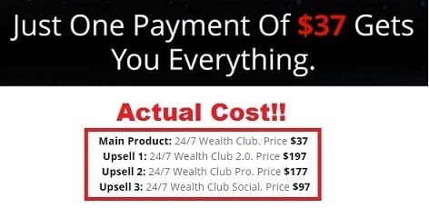 24-7 Wealth Club Cost & Upsells