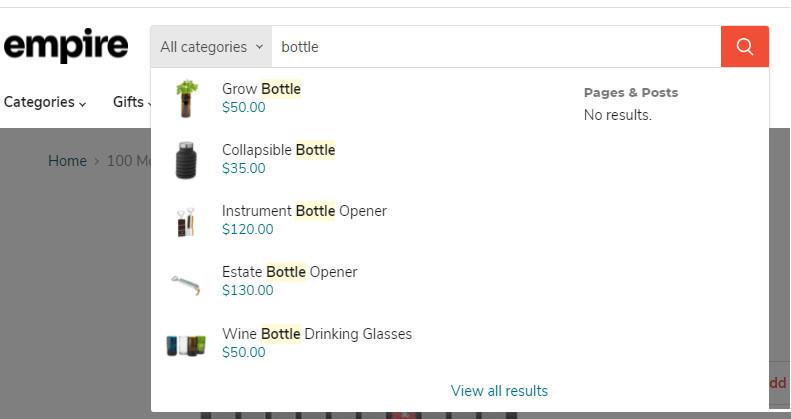 Empire Shopify Theme Live Search