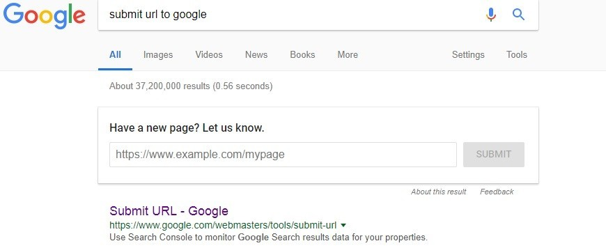 submit url to google for new article page