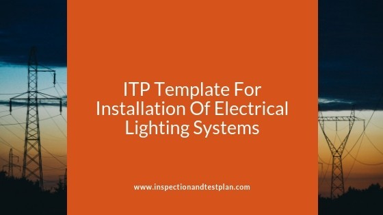 Inspection And Test Plan Template For Electrical Lighting Systems