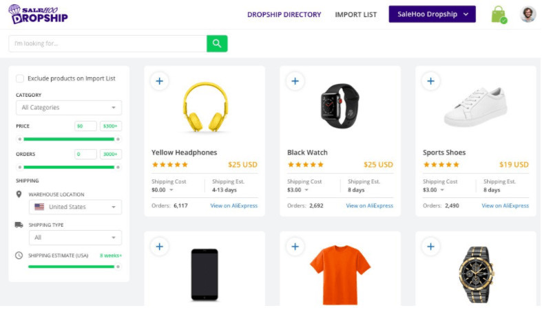 Find Products with SaleHoo Dropship