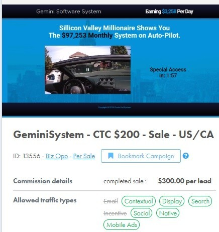 Gemini System Affiliate Commission