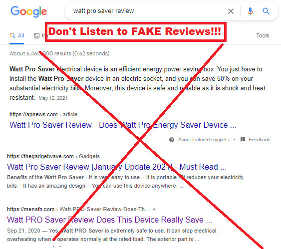 Watt Pro Saver Fake Reviews