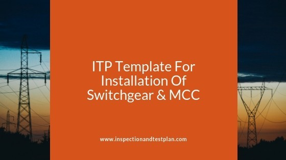 Inspection And Test Plan Template For Switchgear & MCC