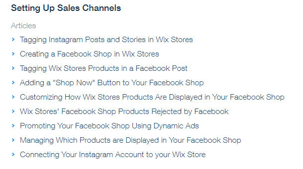 Wix Sales Channels