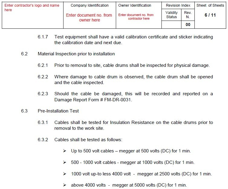 Quality Control Procedure For Electric Power Cables