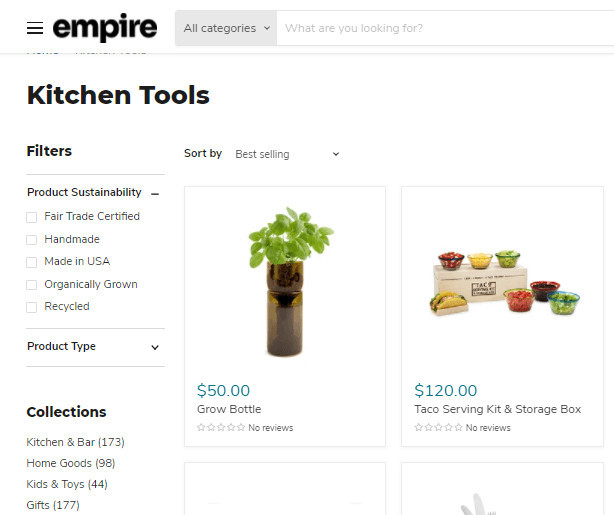 Empire Theme Product Filtering