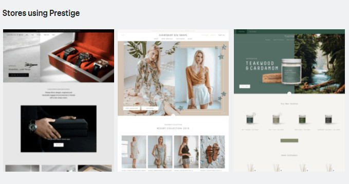 Prestige Shopify Store Examples