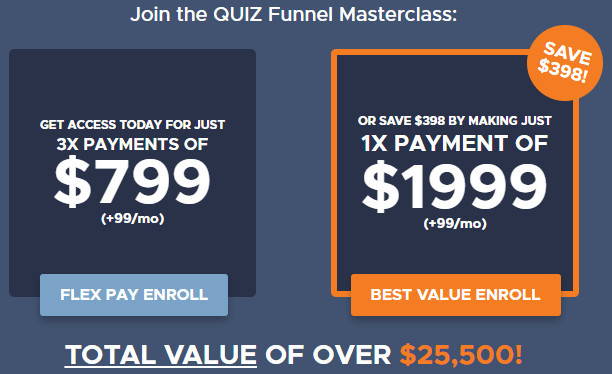 The Quiz Funnel Masterclass Cost