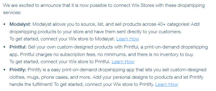 Wix Dropshipping Options