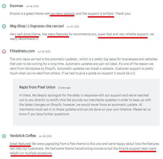 Empire Theme User Reviews