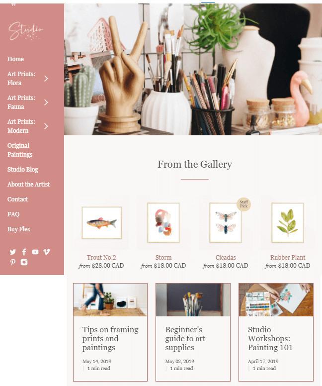 Flex Best Shopify Theme for Artists