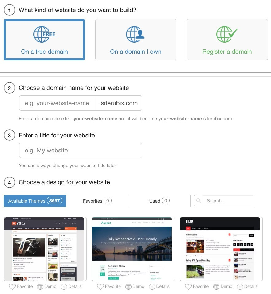 Wealthy Affiliate domain and website builder page