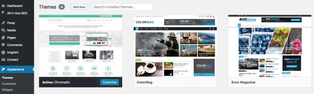 Picture Of Three WordPress Themes