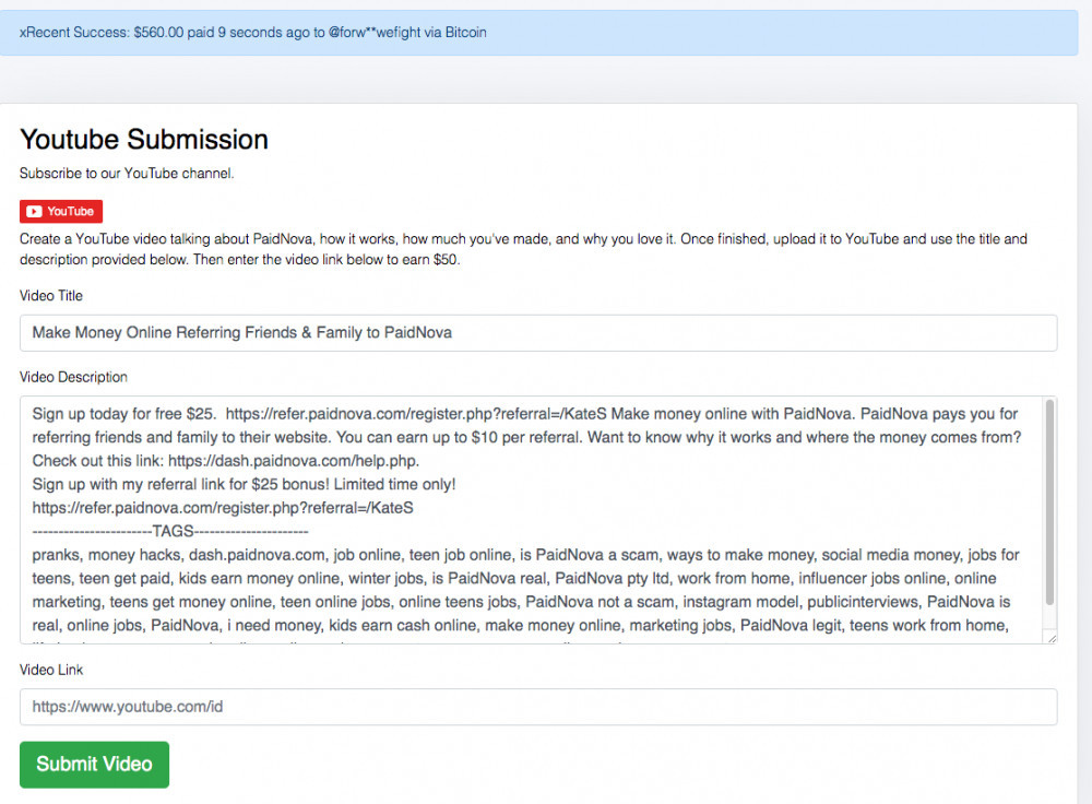 PaidNova YouTube submission screenshot