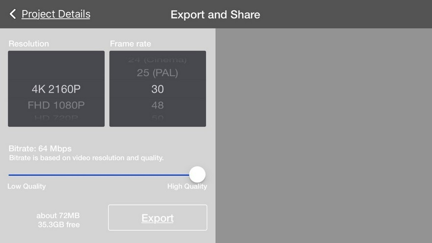 Export and share screen KineMaster