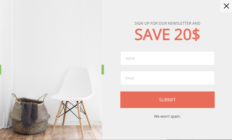 How To Create A Popup - Save 20% Template
