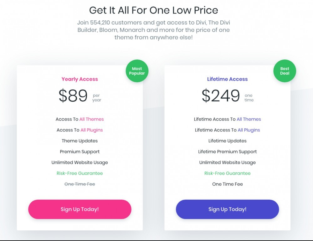 elegant themes pricing plans