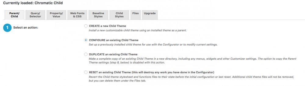 configure child theme configurator plug in