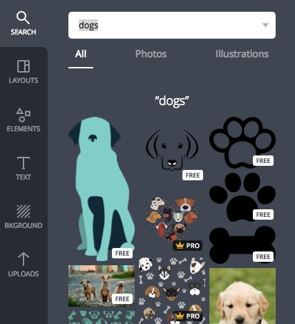 Dogs images in Canva