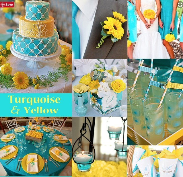 Wedding Color Ideas - Turqoise and Yellow Color Scheme