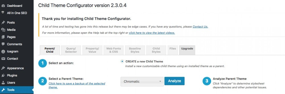 wordpress child theme configurator picture