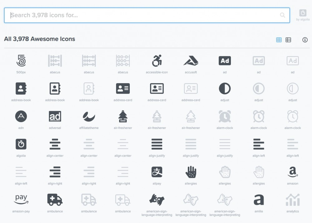 Font Awesome icon page