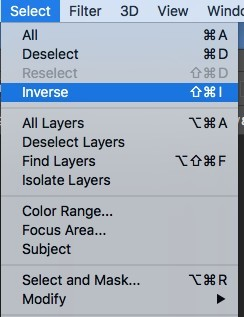 Select and inverse in Photoshop