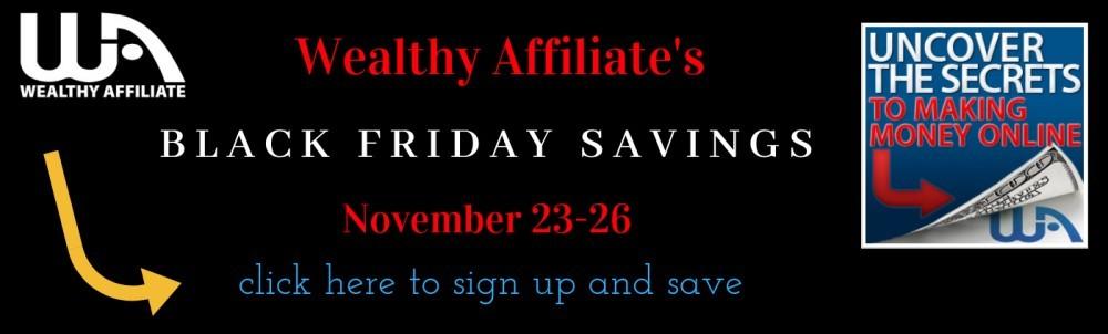 Wealthy Affiliate black Friday sale banner