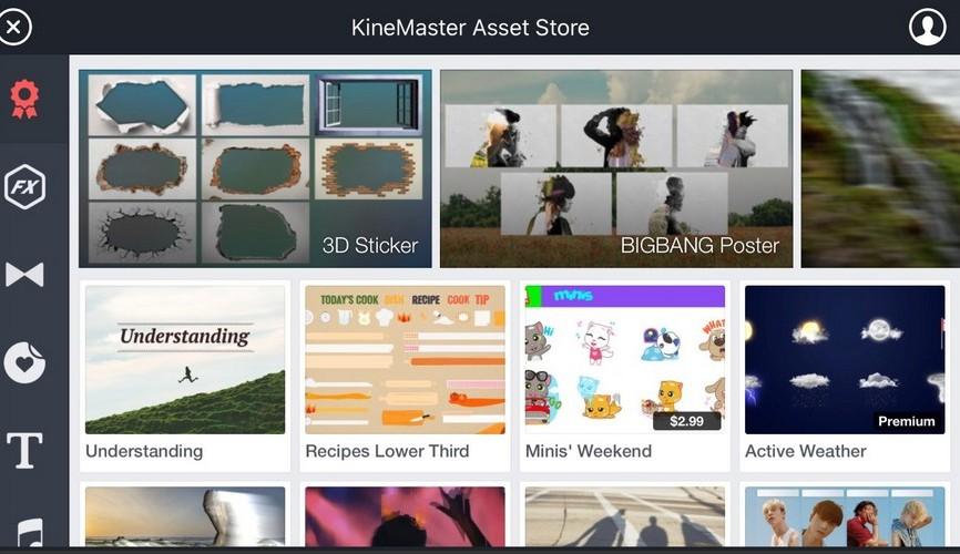 KineMaster's asset store screenshot