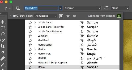 Matura MT Script Capitals font in photoshop
