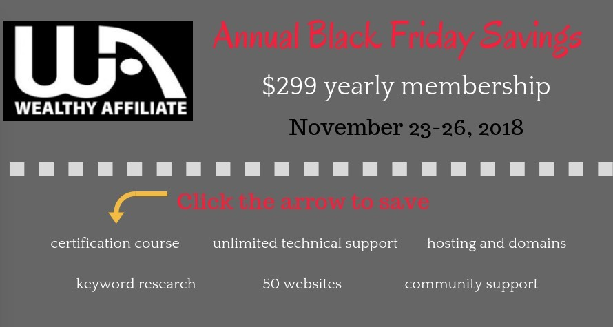 wealthy affiliate annual black friday banner