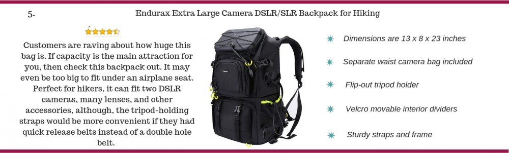 Endurax Camera Backpack for hiking