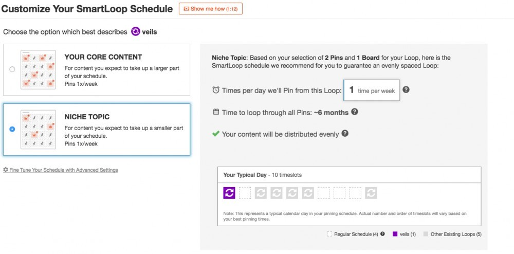 Customizing SmartLoop schedule