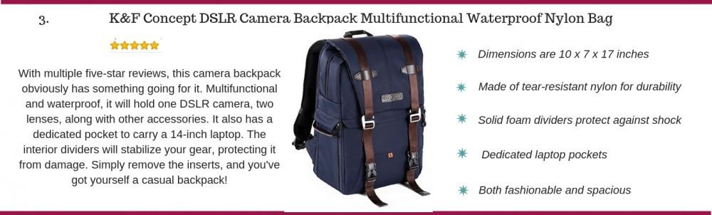 K and F concept DSLR camera backpack