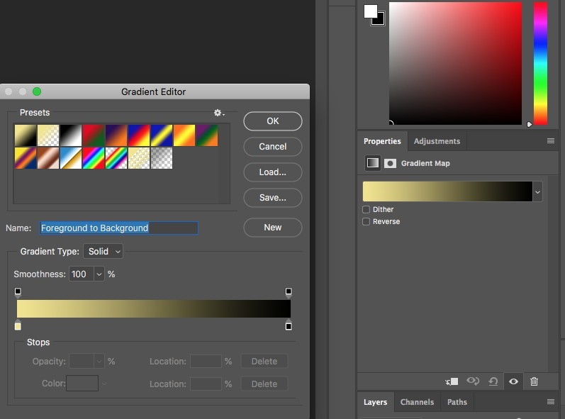 gradient editor in photoshop