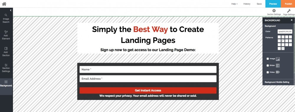 sunny landing pages editor