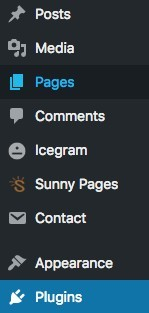 wordpress dashboard sunny pages