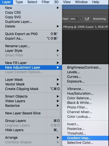 new adjustment layer and gradient map