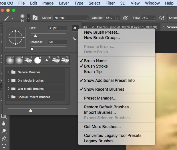 brush controls in photoshop