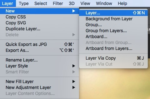 new layer in Photoshop
