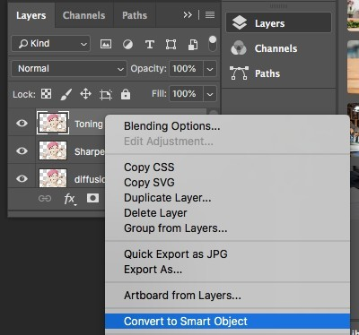 converting to smart objects in photoshop
