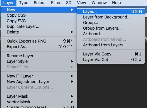 Creating a new layer in Photoshop