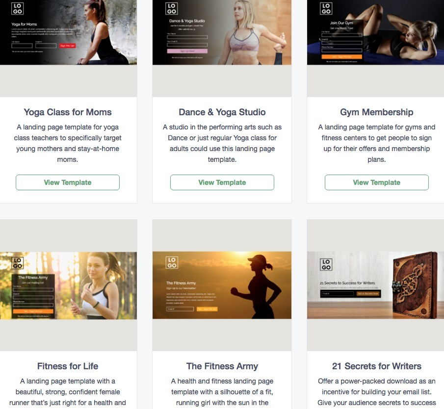 Sunny landing page templates