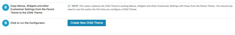 picture of step 8 and 9 in WordPress child theme configurator plugin